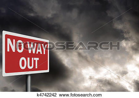 Clip Art of 'No way out' high resolution, detailed sign with space.