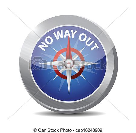 Vector Clipart of no way out compass destination illustration.