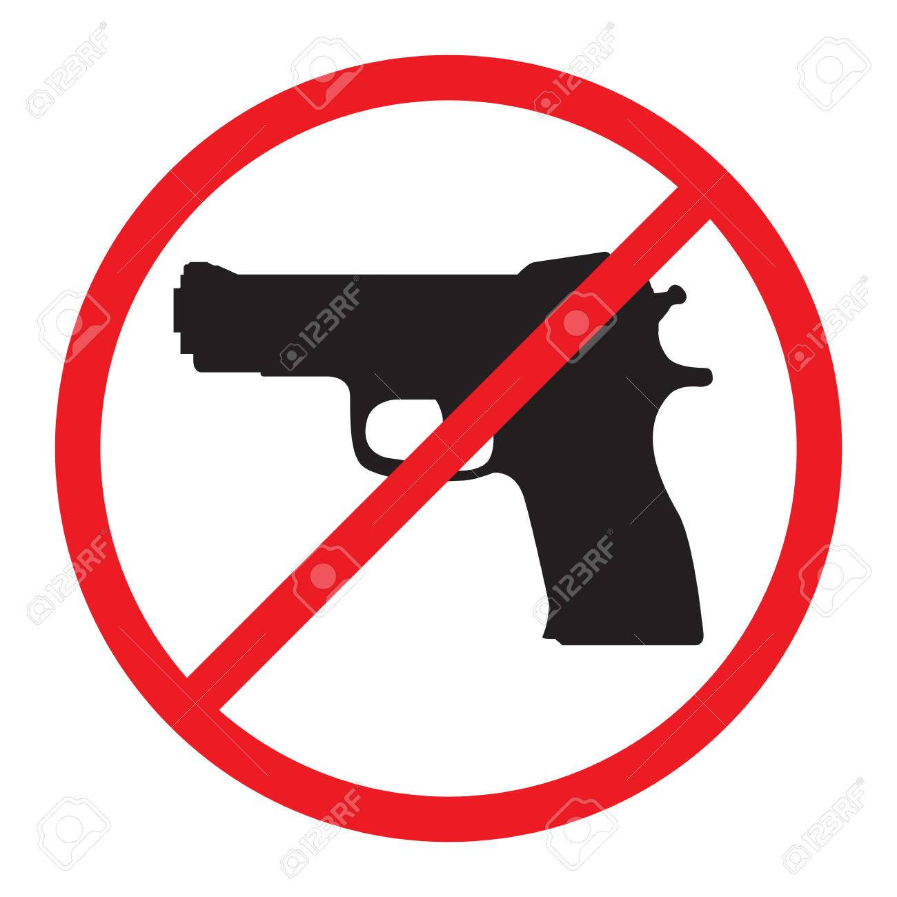 No Guns Allowed Sign. No Weapons Sign..