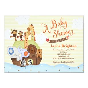 SS Noah / Noah's Ark Baby Shower Invitation.