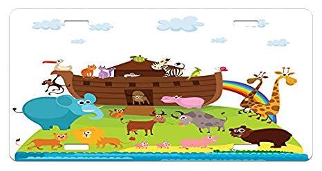 Amazon.com: Lunarable Noah's Ark License Plate, Various Safe.