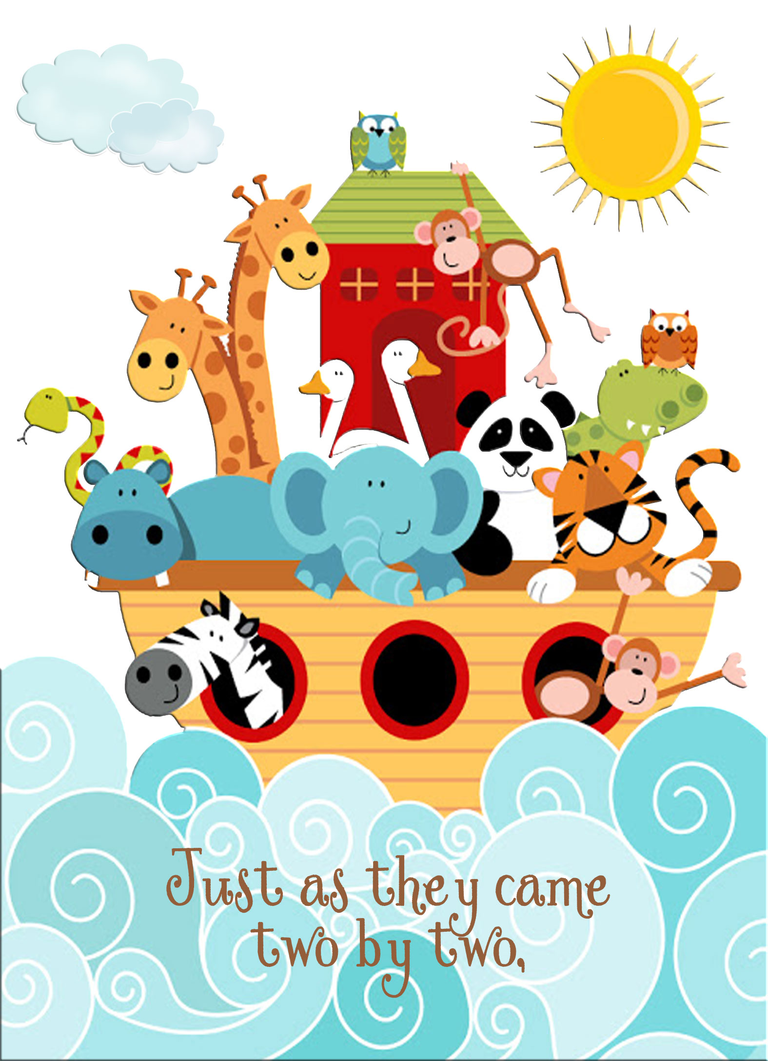 Noah's Ark Baby Shower Invitation.