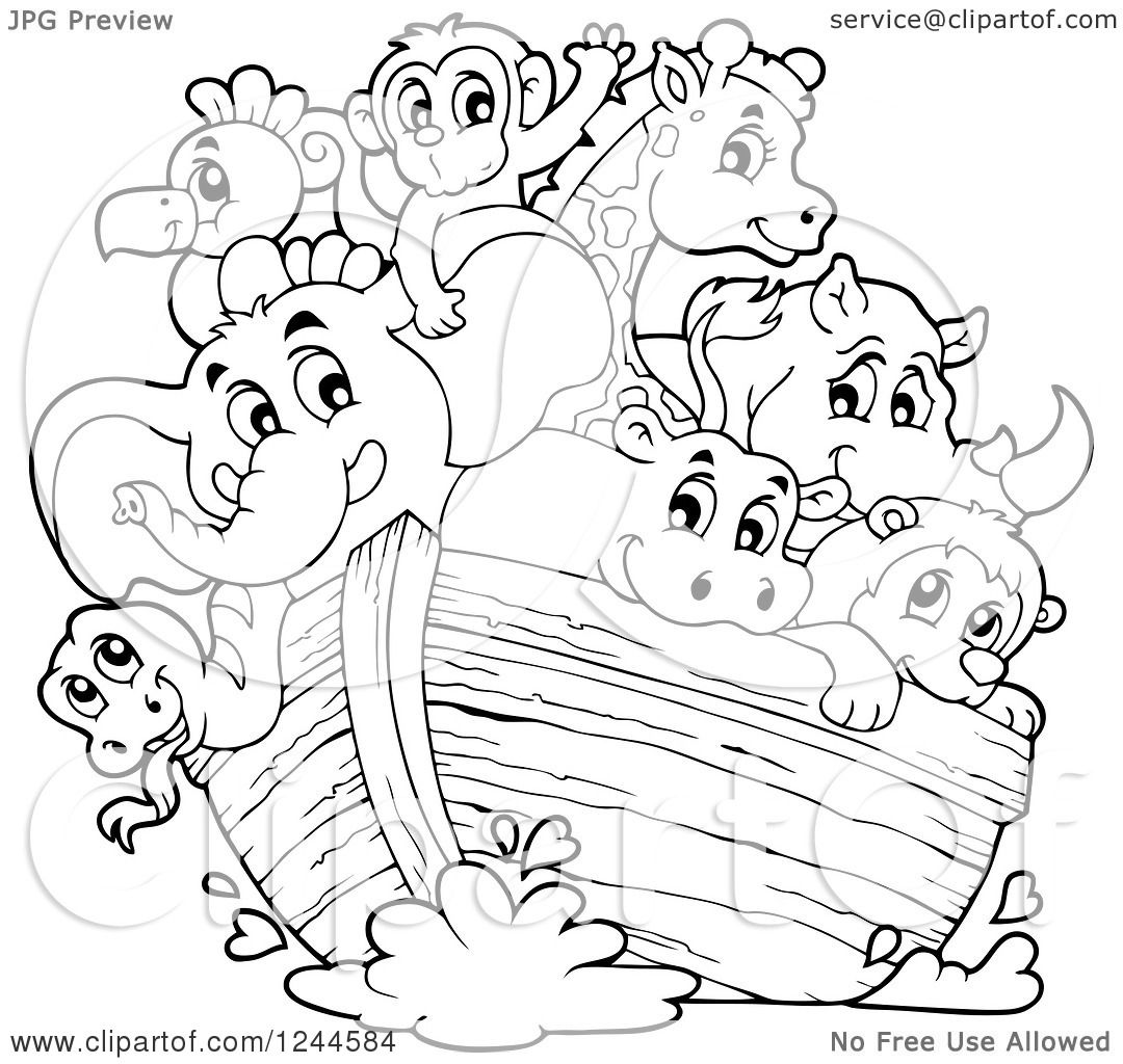 Clipart of Black and White Cute Happy Animals on Noahs Ark.