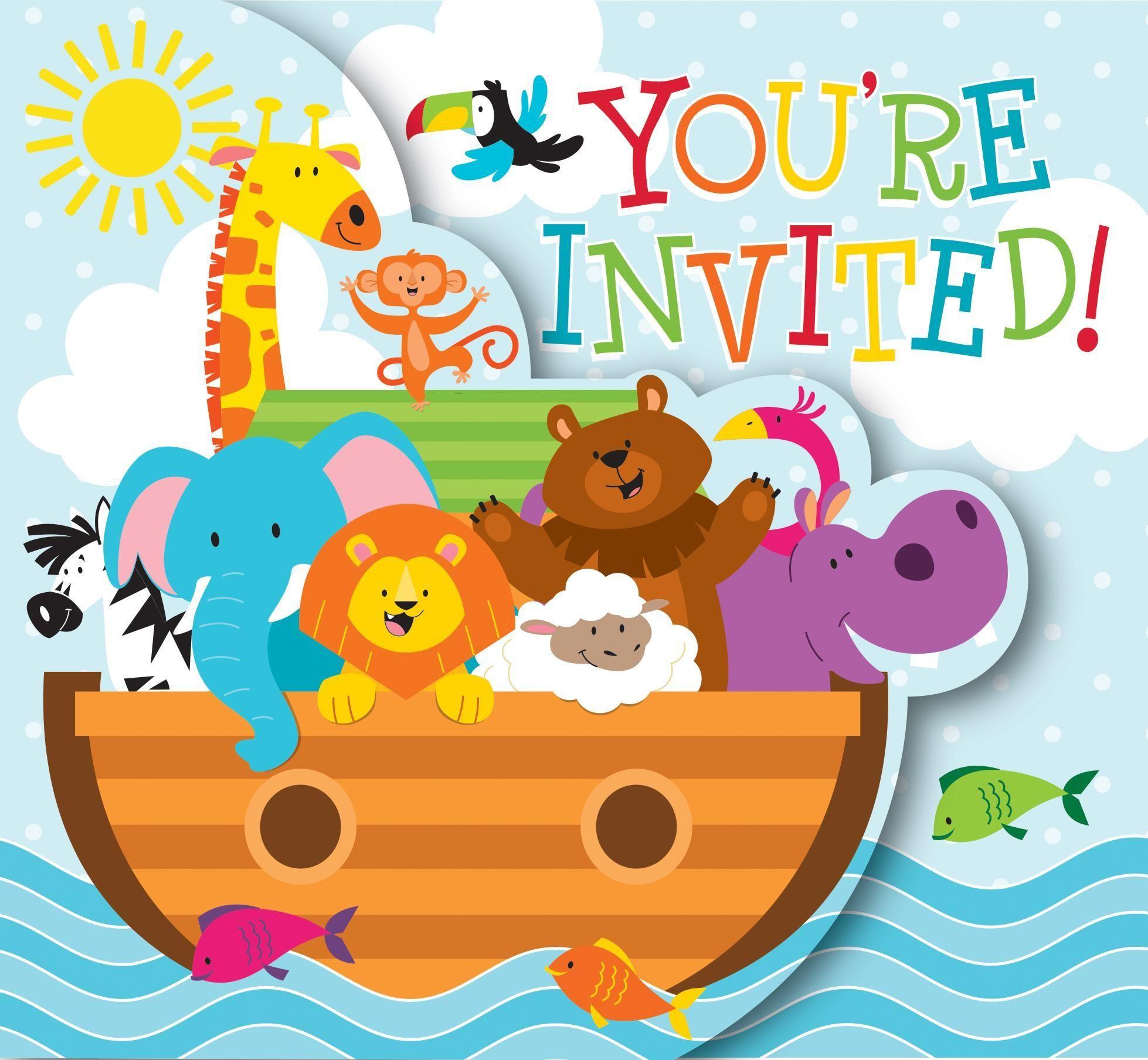 Noah\'s Ark Invitation, Diecut Gatefold (48/case).