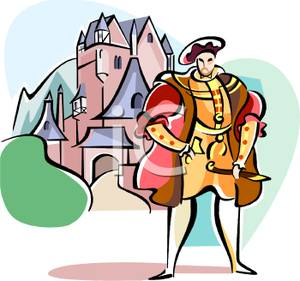 Colorful Cartoon of an English Noble Standing In Front of a Castle.