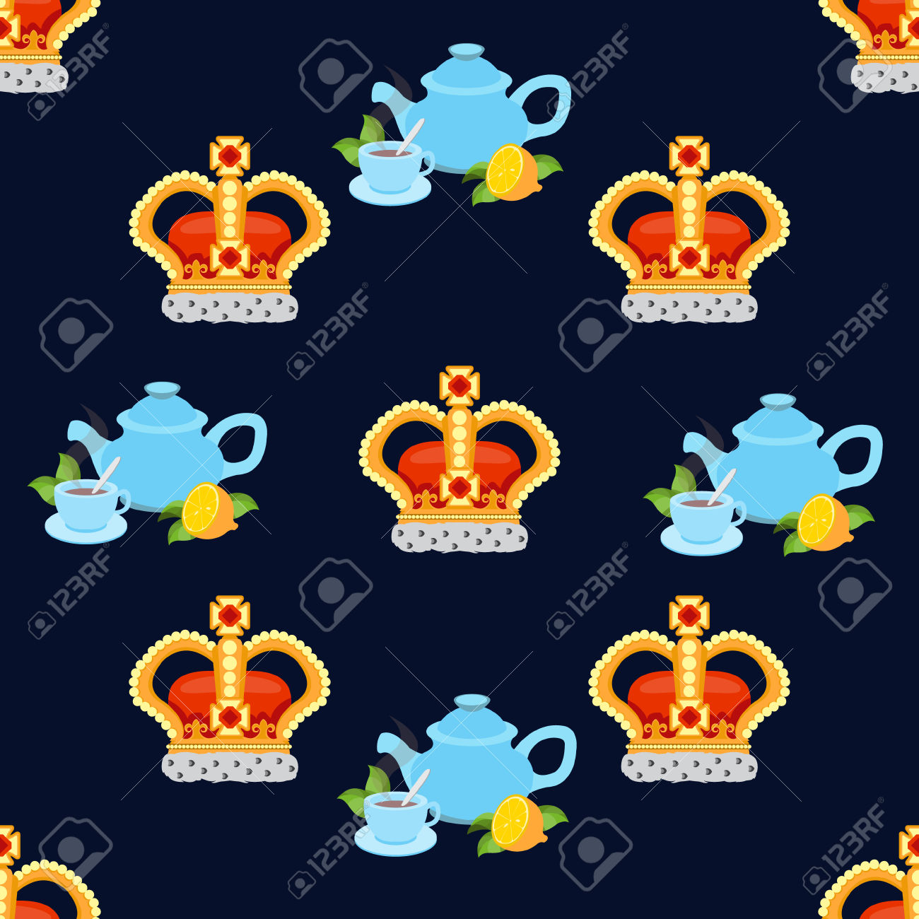 Seamless Pattern With Crown Monarch And Tea To The Noble Dark.
