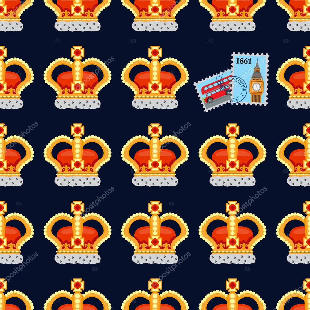 Seamless pattern with crown monarch and stamps to the noble dark.