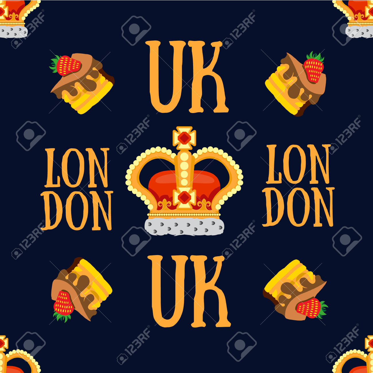 Seamless Pattern With Crown Monarch And The Words London To The.