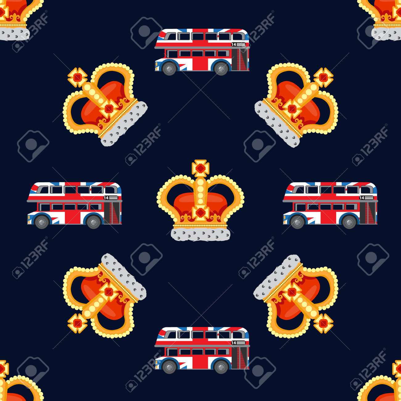 Seamless Pattern With Crown Monarch And English Double.