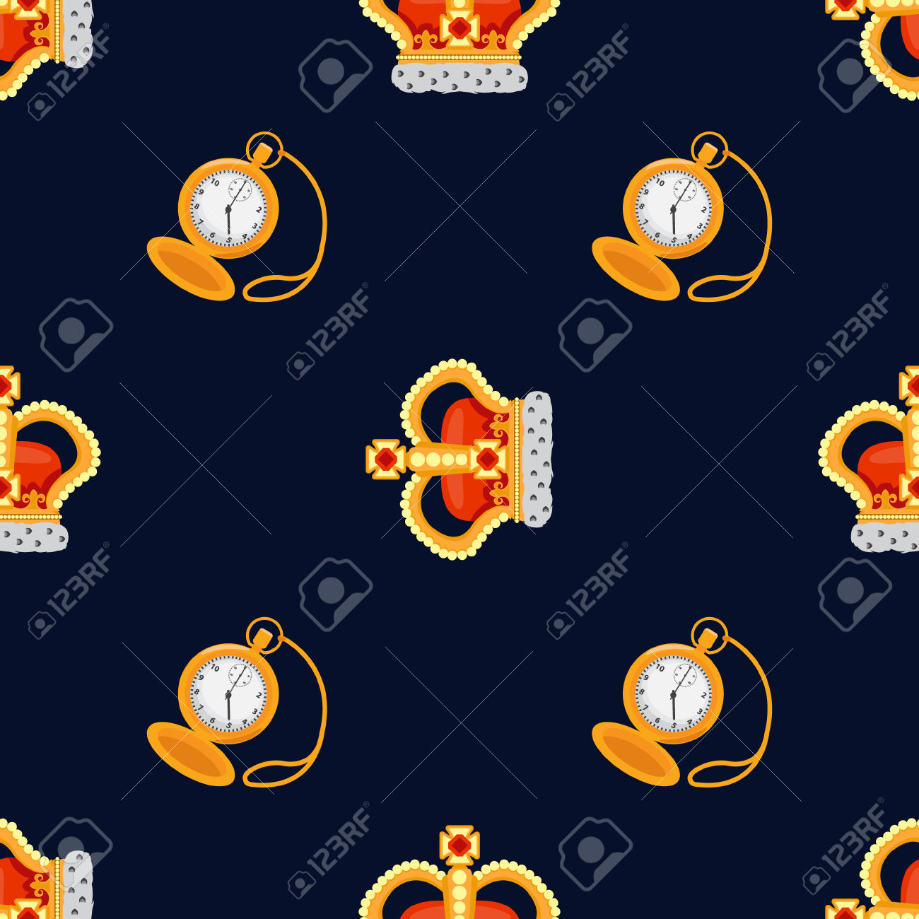Seamless Pattern With Crown Monarch And Pocket Watch To The Noble.