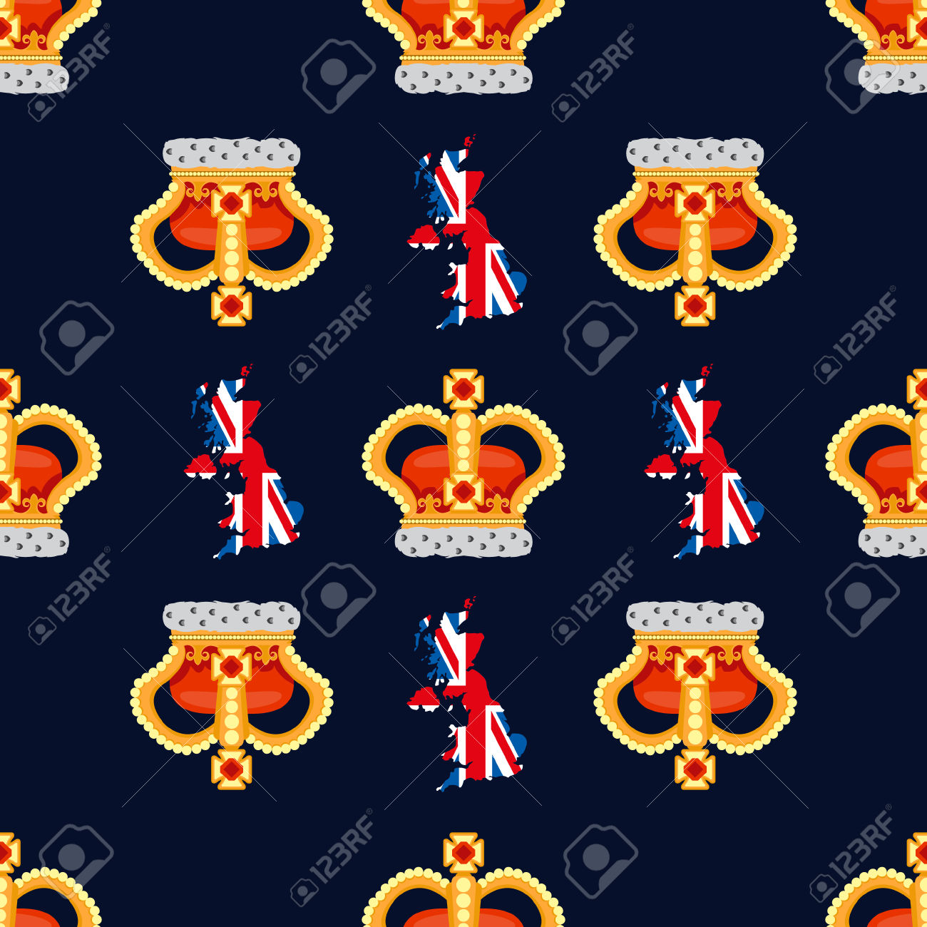 Seamless Pattern With Crown Monarch To The Noble Dark Blue.