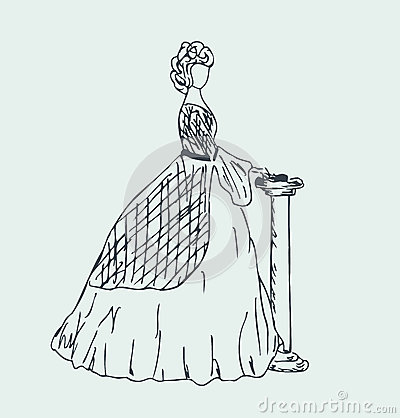 Image Of Aristocratic Woman. Sketchy Woman Silhoue Stock Photos.