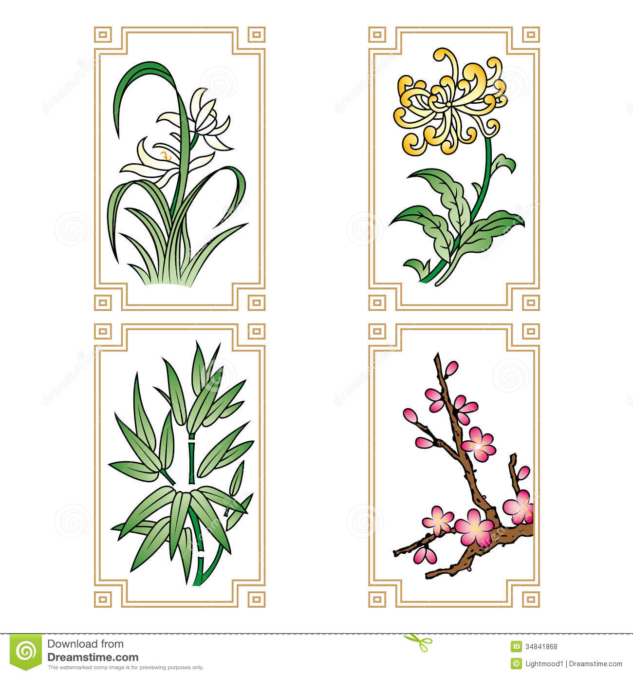 Four Gentlemen Flowers Royalty Free Stock Photos.