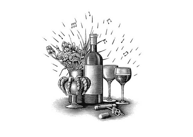 Steven Noble Illustrations: Wine Food.