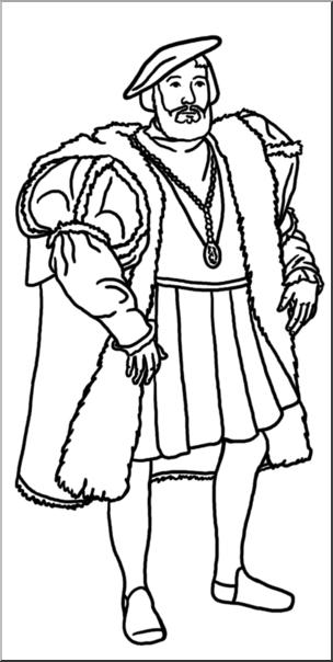 Clip Art: Medieval History: 16th Century Nobleman B&W I.