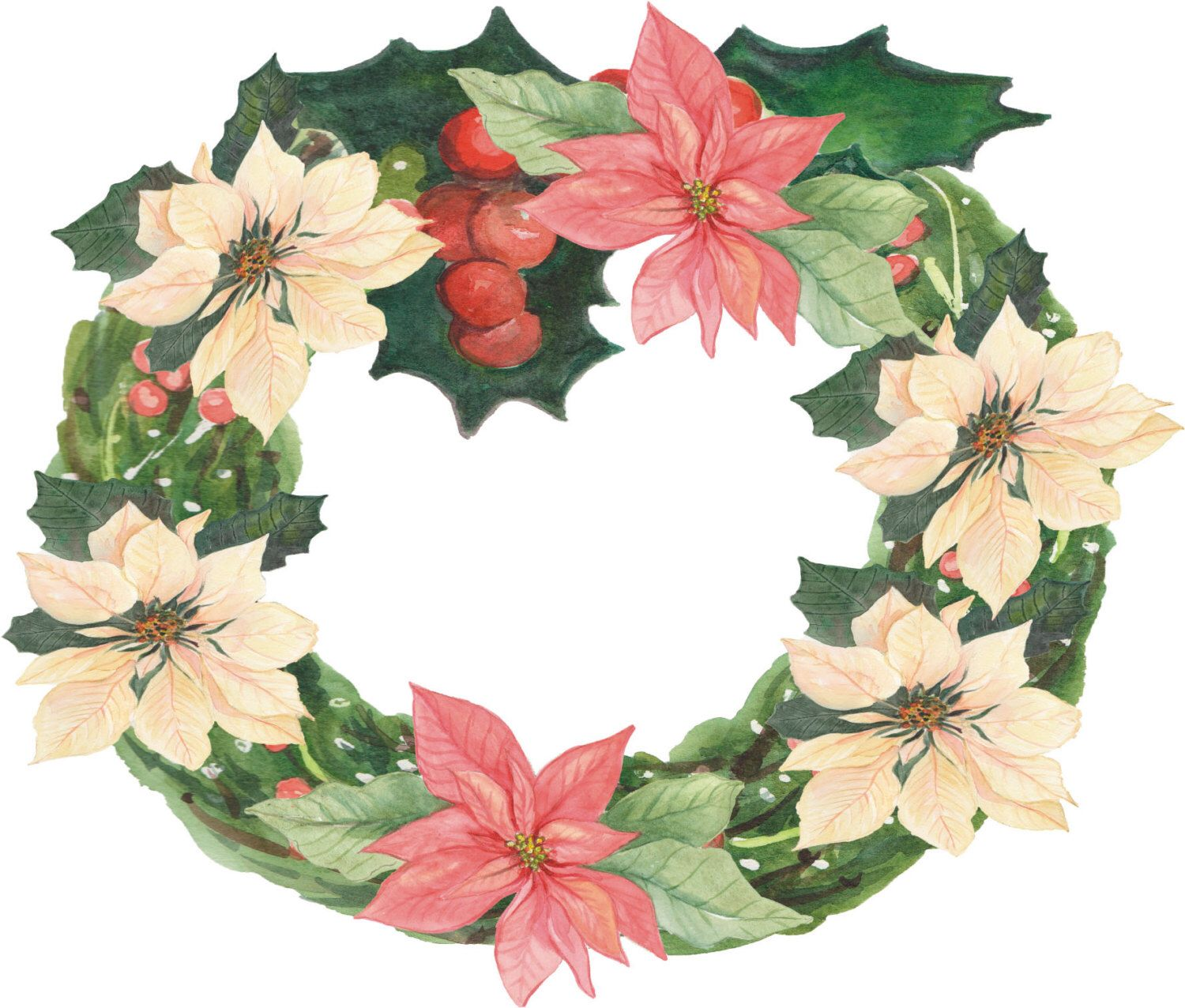 Happy Seasons, Elementos Clipart, Poinsettia, Noche Buena.