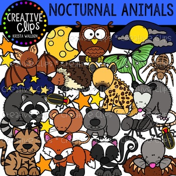 Nocturnal Animal Clipart {Creative Clips Clipart}.