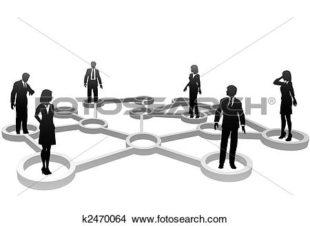 Clipart of Connected business people silhouettes in network nodes.