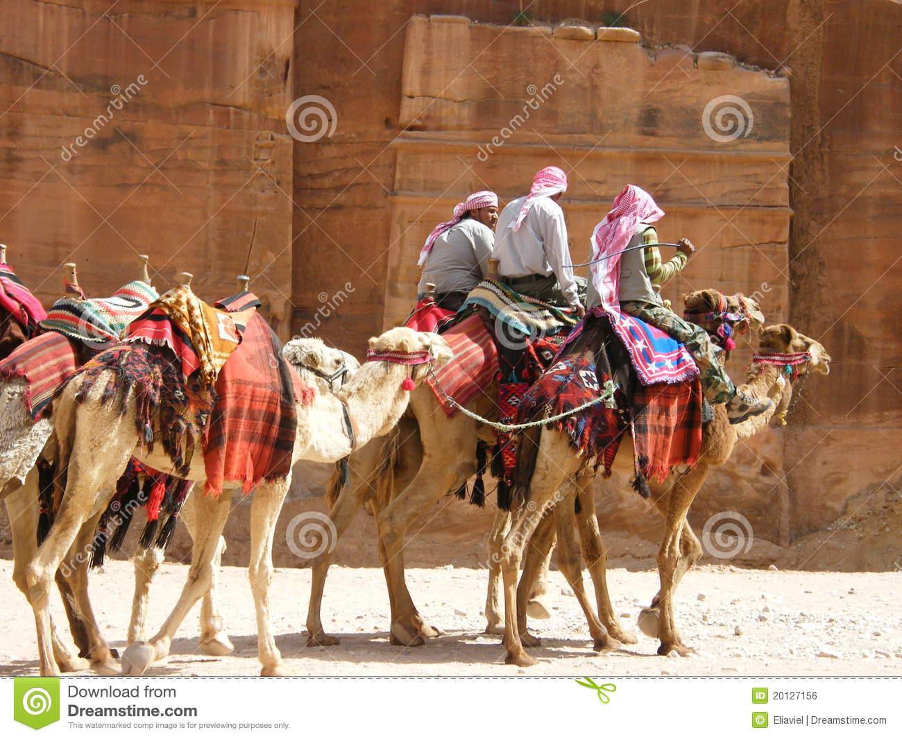 Nomads Caravan In Petra Editorial Photo.