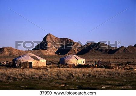 Stock Photography of Nomadic people with yurts, Independent.
