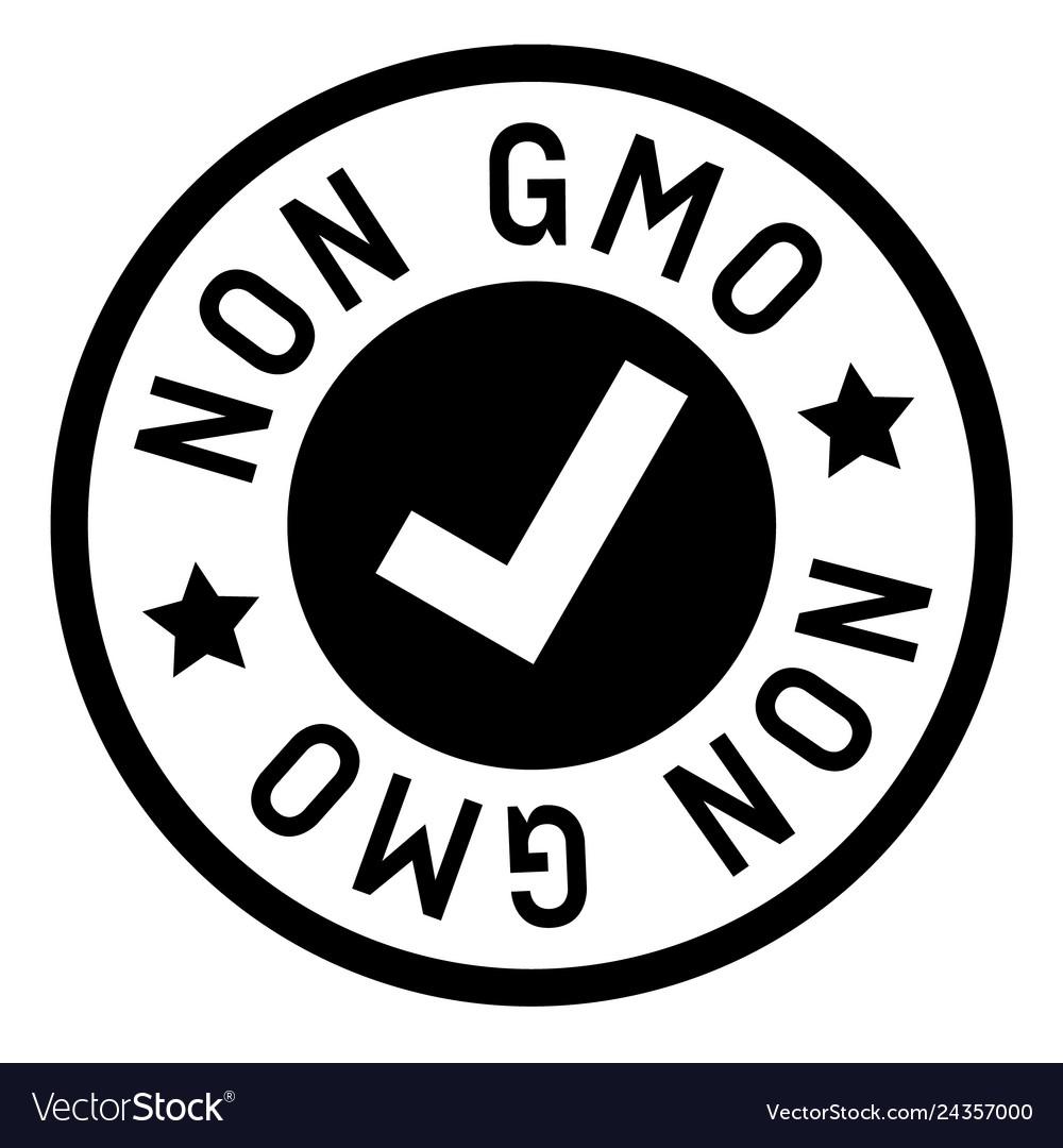 Non gmo stamp on white.