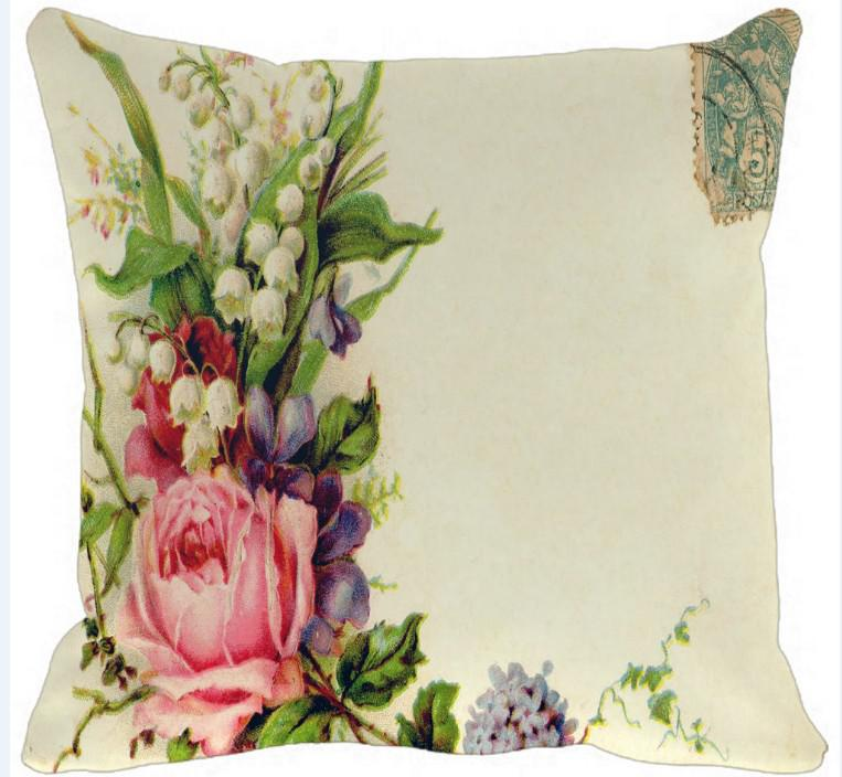 Vintage Roses Clip Art Flowers Print Non Slip Pillow Outdoor Patio.
