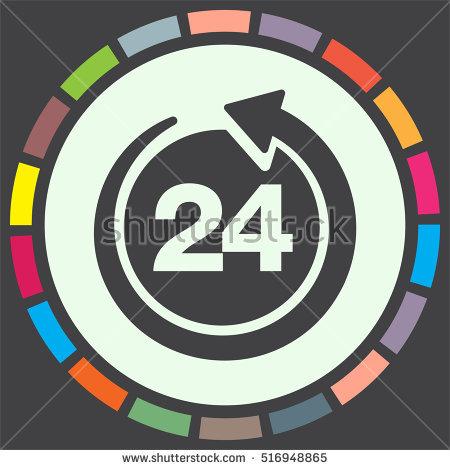 Open 24 Hours Vector Icon Non Stock Vector 516948889.