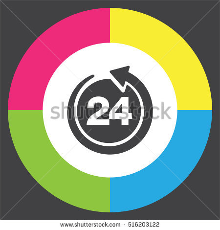 Open 24 Hours Vector Icon Non Stock Vector 516948889.