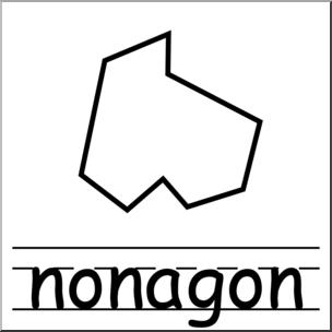 Clip Art: Irregular Polygons: Nonagon B&W Labeled I abcteach.