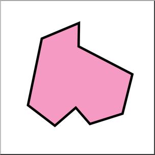 Clip Art: Irregular Polygons: Nonagon Color Unlabeled I.