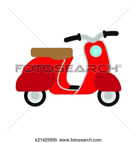 Clipart of red retro no name scooter.