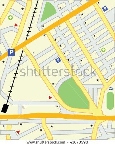 Simple City Map Rail Road Detail Stock Vector 124656205.