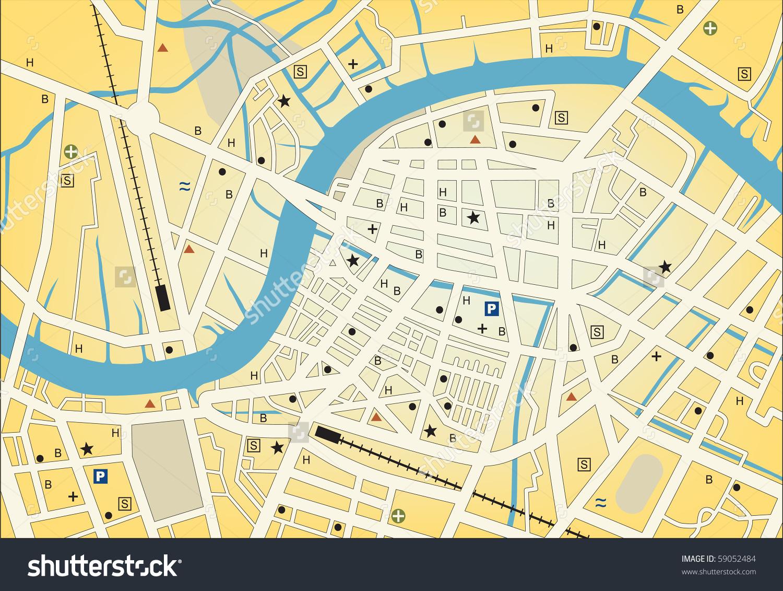 Vector Streetmap Generic City No Names Stock Vector 59052484.