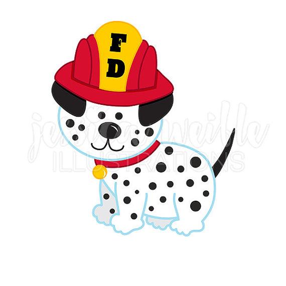 Dalmatian Fire Dog Cute Digital Clipart, Fire Fighter Dog Clip art.