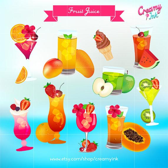 Cocktail Party Digital Vector Clip art / Summer Fresh Fruit Juice.