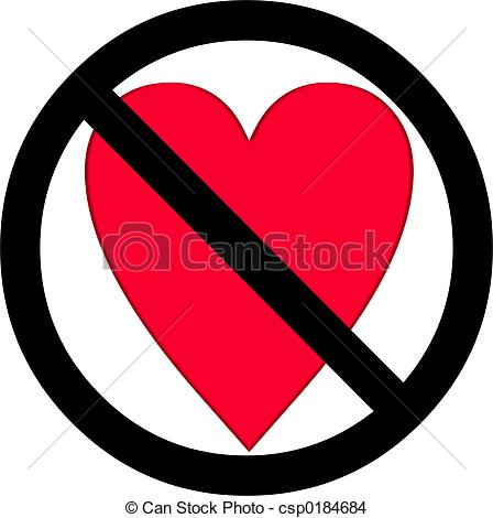 Love heart red black white over white sign symbol no none.