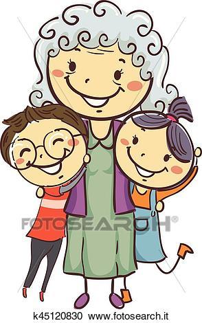 Bastone, bambini, con, nonna Clipart.