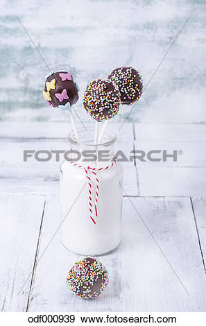 Stock Photograph of Chocolate cake pops garnished with nonpareils.