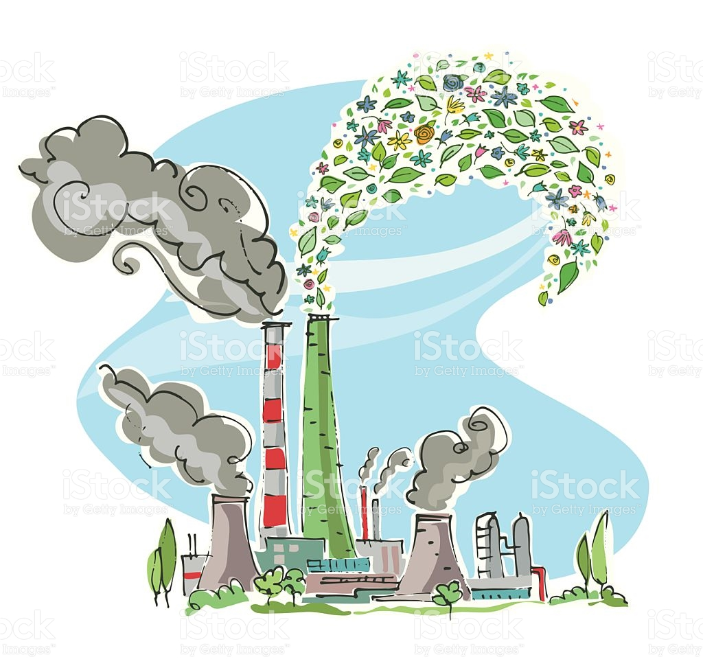 Factory With Chimneys Emitting Polluting And Nonpolluting Smoke.