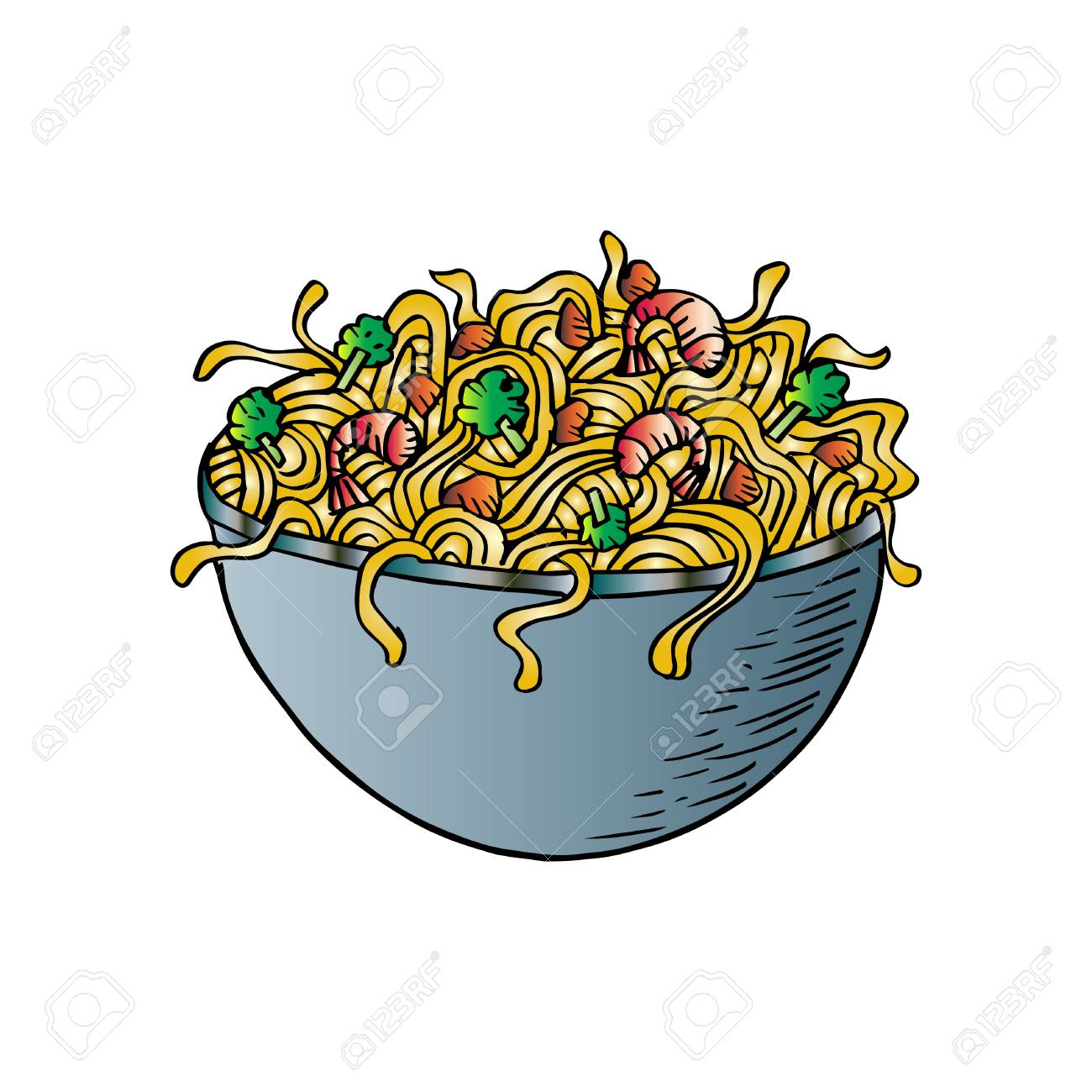 Hand drawn Chinese style noodle bowl.
