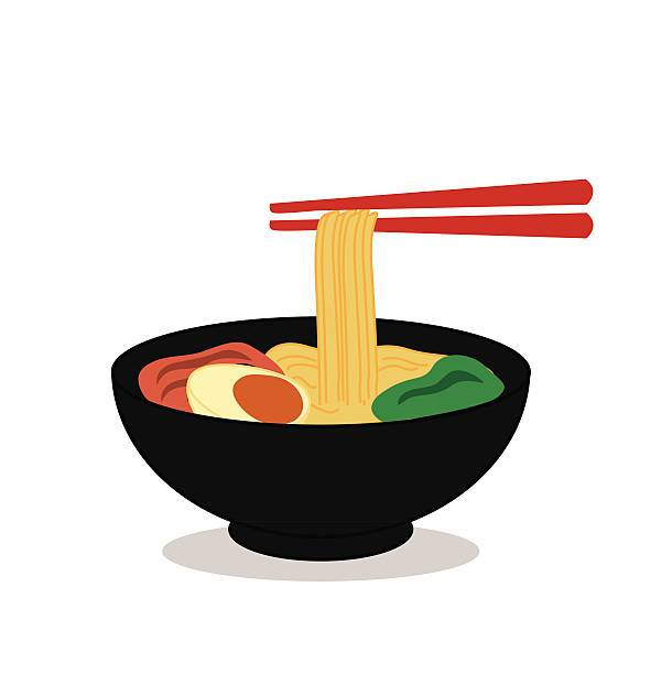 Vector of noodle bowl with chopsticks » Clipart Portal.