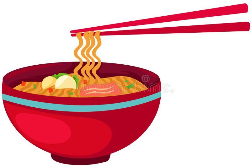 Noodles food with chopsticks.