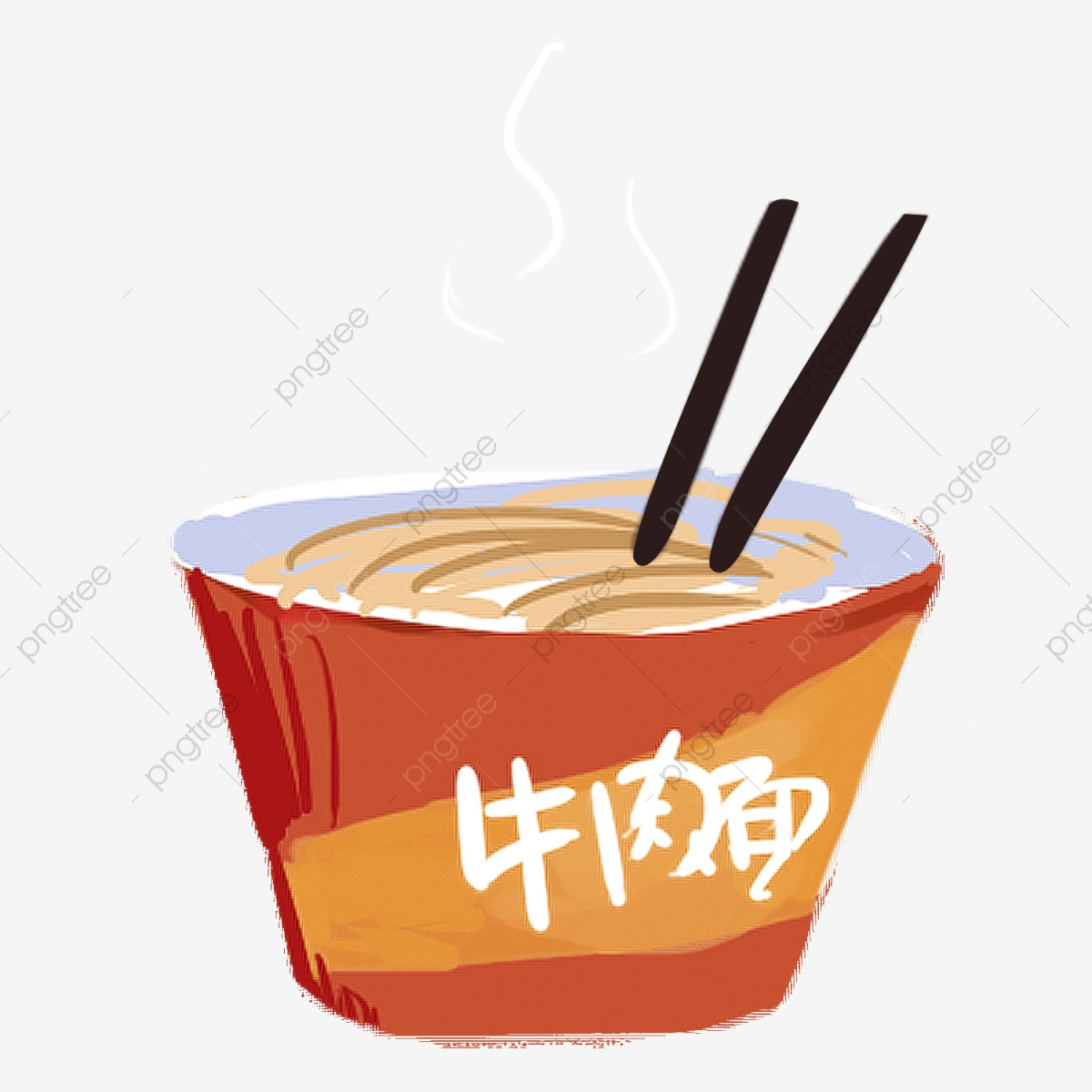 Chinese Noodles Cartoon Fast Food Cartoon Baking Noodles.