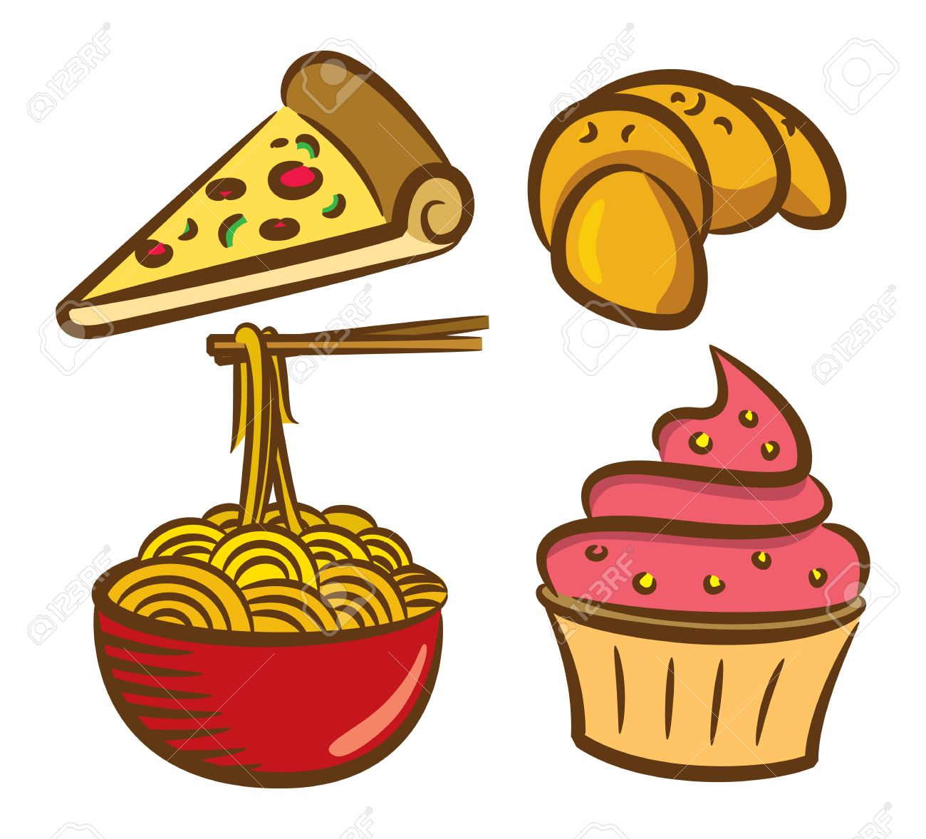 Set Of Food Icon In Doodle Style Royalty Free Cliparts, Vectors.