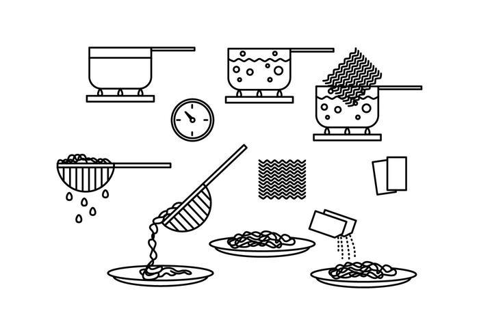 Cook Instant Noodle Line Icon Vectors.