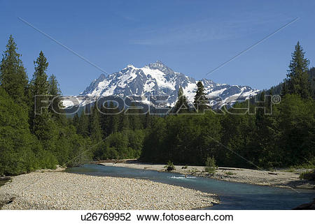 Stock Photo of The Nooksack River and Mt Shuksan Mt Baker.