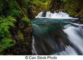 Stock Photography of Mountain River in Forest.