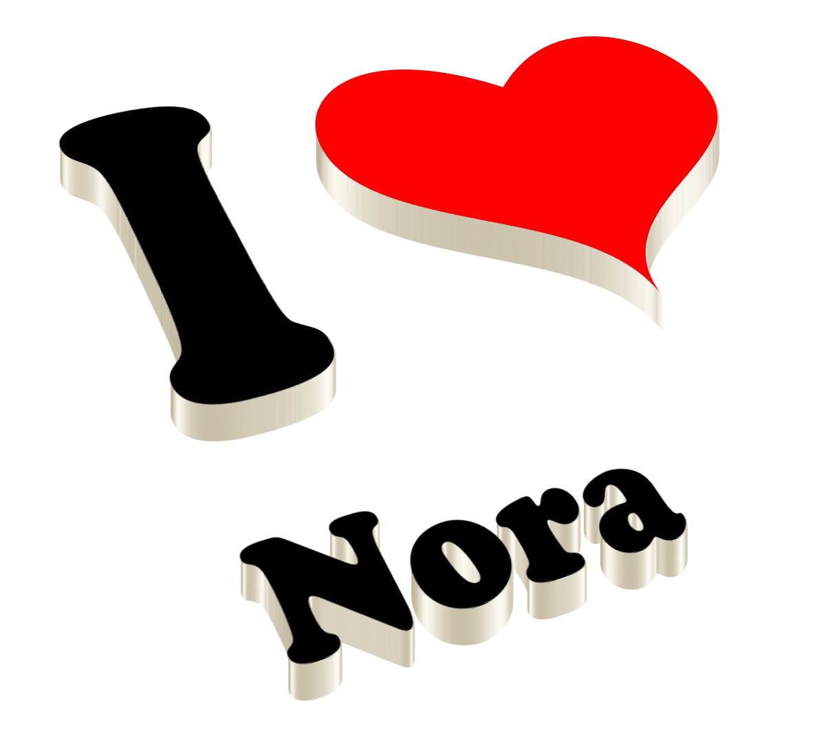 Nora Heart Name Transparent PNG.
