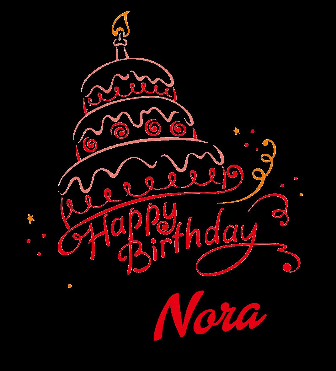 Nora Happy Birthday Vector Cake Name PNG.