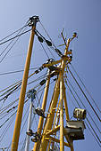 "Stock Photo of ""Mast of a shrimp boat in the port, Norddeich."